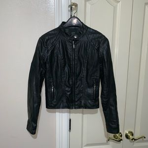 Forever 21 Women's Leather Zip Up Black Jacket